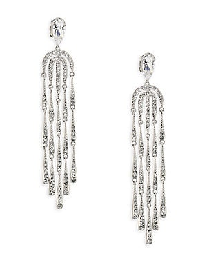 """Image of ONLY AT SAKS. A beautiful and elegant pair of chandelier earrings. Cubic zirconia Crystals Rhodium-plated brass Post back Imported SIZE Drop, about 2.375"""" Width, about 0.5"""". Fashion Jewelry - Adriana Orsini. Adriana Orsini. Color: Silver."""