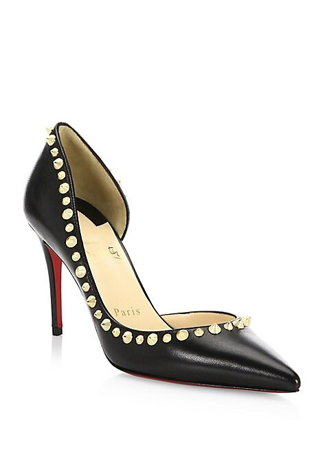 "Image of Leather d'Orsay pump trimmed with spiked studs. Self-covered heel, 3.34"" (85mm).Leather upper. Point toe. Leather lining. Signature red leather sole. Made in Italy."