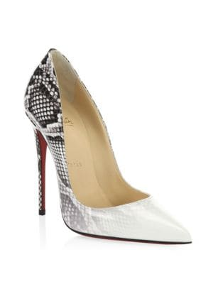 CHRISTIAN LOUBOUTIN PIGALLE FOLLIES OMBRE SNAKE-PRINT RED SOLE PUMP, WHITE-ROCCIA