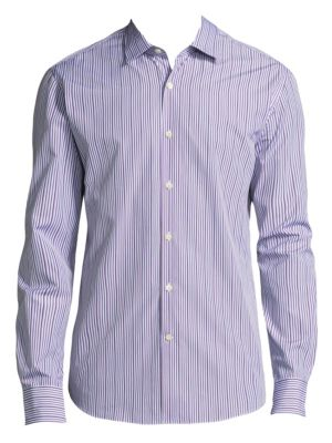 Image of Stripe Cotton Button-Down Shirt
