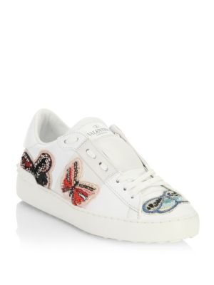 Embroidered Open Leather Sneaker by Valentino Garavani