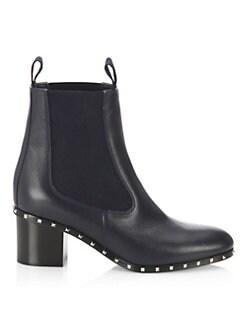 VALENTINO GARAVANI - Rockstud Leather Ankle Boots