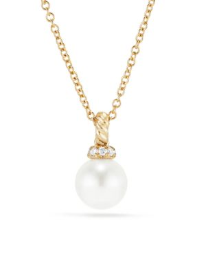 David Yurman Solari 6mm Pearl Diamond Gold Pendant Necklace