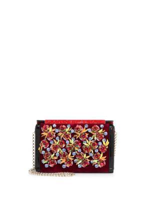 Vanite Rose-Embellished Velvet Clutch Bag, Figue