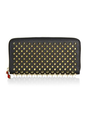 Panettone Embellished Zip-Around Leather Wallet, Black Gold