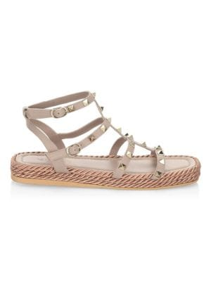 Rockstud Torchon Leather Platform Sandals, Poudre