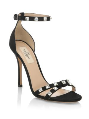 Rockstud Glam Satin City Sandals, Black