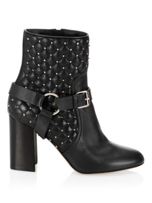 Rockstud Spike Leather Ankle Boots, Black