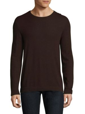 Image of Knitted sweater for a soft and comfortable feel. Crewneck. Long sleeves. Rib-knit cuffs and hem. Cashmere. Dry clean. Imported.