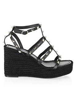 b8fb1ed1aeb1b9 Valentino Garavani. Rockstud Leather Espadrille Wedge Sandals