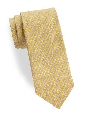 Yellow Gancini-Print Silk Tie