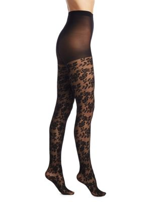 NATORI LEGWEAR Nouveau Rose Sheer Tights in Black