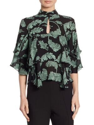 Palm Illena Short-Sleeve Silk Top by
