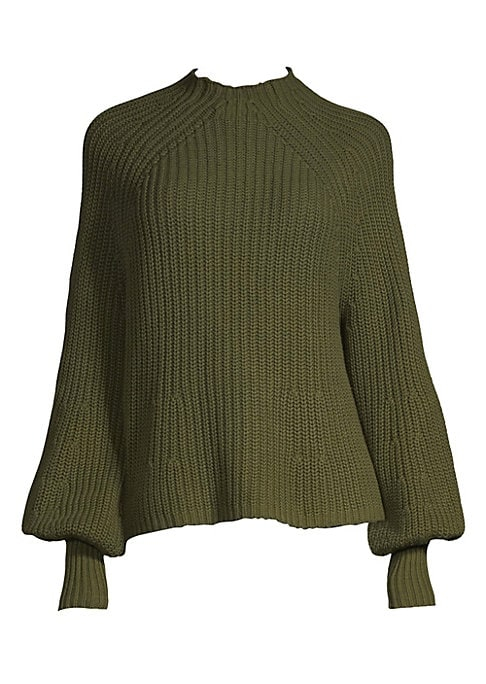 """Image of Cotton-blend top made in a ridged texture. Mockneck. Long bishop sleeves. Rib-knit cuffs. About 24"""" from shoulder to hem. Cotton/cashmere. Dry clean. Imported. Model shown is 5'10"""" (177cm) wearing size Small."""