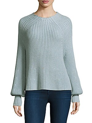 "Image of Cotton-blend top made in a ridged texture Mockneck Long bishop sleeves Rib-knit cuffs About 24"" from shoulder to hem Cotton/cashmere Dry clean Imported Model shown is 5'10"" (177cm) wearing size Small. Contemporary Sp - Workshop > Saks Fifth Avenue. Apiece"