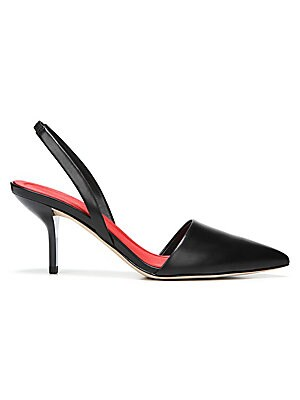 """Image of Stiletto heel, 2.75"""" (70mm) Leather upper Point toe Leather lining Leather sole Padded insole Imported. Women's Shoes - Contemporary Womens Shoe. Diane von Furstenberg. Color: Black. Size: 6."""