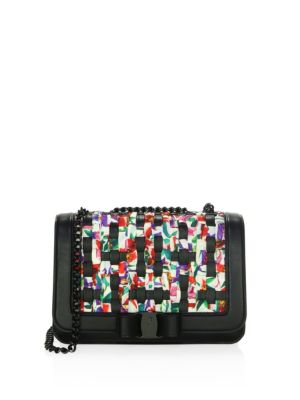 "Image of Medium shoulder bag in multicolored printed woven fabric with gunmetal hardware and classic Vara bow. Chain and patent leather crossbody strap, 11-22"" drop. Push-lock closure. Gunmetal hardware. One interior slip pocket. One interior zip pocket. Contrast"