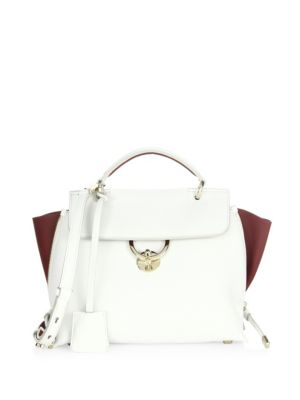 Small Jet Set Top Handle Leather Bag in New Bianco
