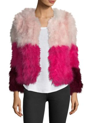 Colorblock Fluffy Feather Fever Jacket, Pink