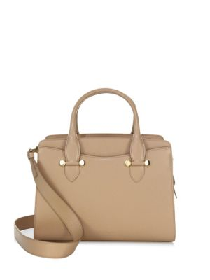 Small Today Leather Satchel - Beige, Almond