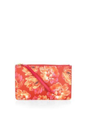 Floral Leather Wristlet Pouch by Salvatore Ferragamo