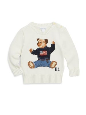 "Image of An icon sporting an icon, Ralph Lauren's signature Polo Bear wears the Ralph Lauren American flag sweater in this medium-weight cotton layer. Crewneck. Long sleeves with rib-knit cuffs. Two-button placket at the left neck. Signature Polo Bear and ""RL"" int"