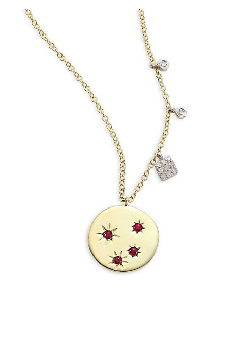 """Image of Ruby-set disc necklace with dangling diamond stations. Diamonds, 0.06 tcw. Ruby.14K yellow gold. Length, 16"""" with 2"""" extender. Lobster clasp. Imported."""