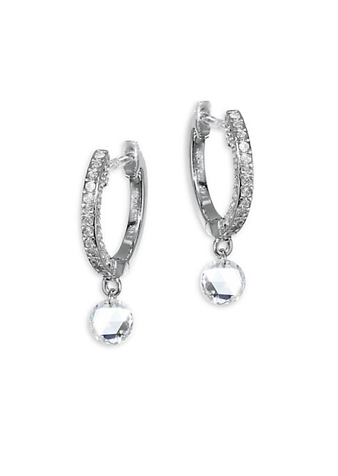 Image of Radiant diamond pave huggie hoop with dangling drop. Diamonds, 0.50 tcw.14K white gold. Hinged post back. Imported.