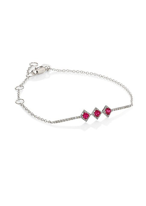 """Image of Delicate bracelet with pave links and ruby stations. Diamonds, 0.20 tcw. Ruby.14K white gold. Length, about 7"""".Lobster clasp. Imported."""