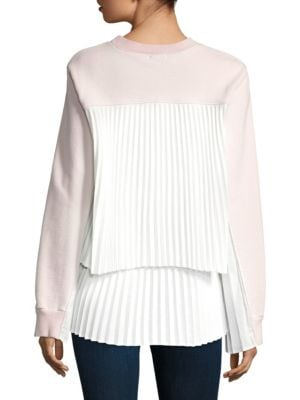 Pleated Panel Back Terry Sweat Cotton Top by Clu