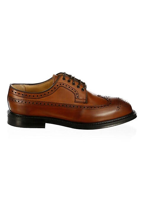 Image of .Classic leather oxfords for a soft and supple feel. .Leather upper. .Wingtip toe. .Lace-up vamp. .Leather lining. .Leather/rubber sole. .Made in UK. .