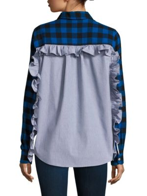 Checkered Contrast Back Cotton Button-Down Shirt by Clu