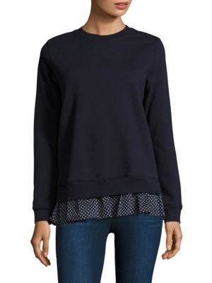 Polka-Dot Ruffled Cotton Sweatshirt by Clu