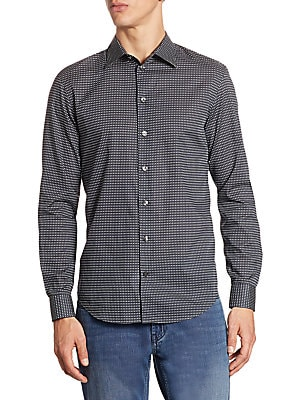 """Image of Cotton button-down shirt with polka-dot design Spread collar Long sleeves Buttoned barrel cuffs Button front Back yoke Shirttail hem Slim-fit About 26"""" from shoulder to hem Cotton Hand wash Imported. Men Luxury Coll - Armani Sportswear. Armani Collezioni."""
