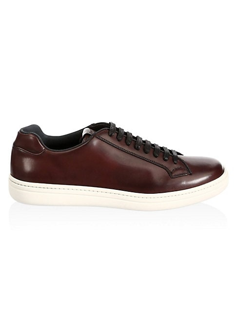 Image of Casual low-top sneakers finished in smooth surface. Leather and textile upper. Round toe. Lace-up vamp. Leather and textile lining. Rubber sole. Made in Italy.