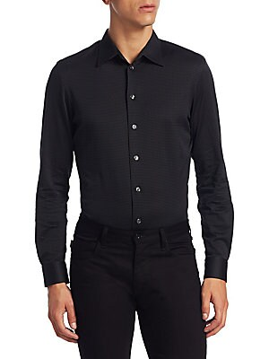 """Image of Cotton button-down shirt featuring gingham design Spread collar Long sleeves Buttoned barrel cuffs Button front Back yoke Slim-fit About 27"""" from shoulder to hem Cotton Machine wash Imported. Men Luxury Coll - Armani Sportswear. Armani Collezioni. Color:"""