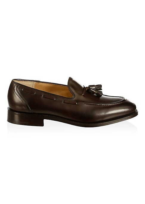 Image of .Luxe leather loafers with a tassel front detail. .Leather upper. .Apron toe. .Slip-on style. .Leather lining and sole. .Made in UK. .