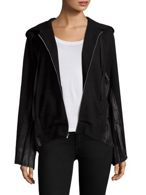 Pleated Panel Back Zip-Up Cotton Hoodie by Clu