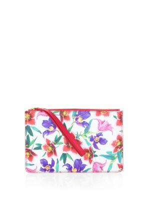 Salvatore Ferragamo  Floral Leather Wristlet Pouch