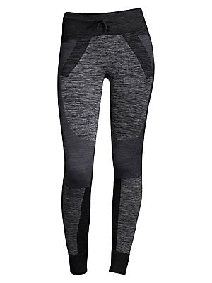 "Image of Drawstring leggings featuring colorblock design Elasticized drawstring waistband Rib-knit leg openings Rise, about 9"" Inseam, about 28"" Leg opening about 10"" Polyamide/polyester/elastane Machine wash Imported Model shown is 5'10"" (177cm) wearing size Smal"
