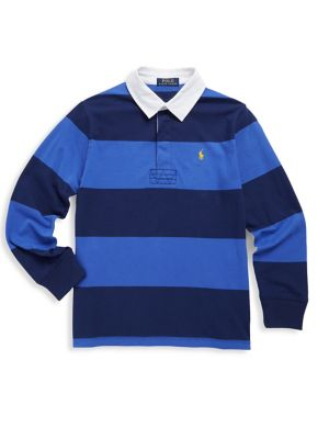 Toddlers and Little Boys Striped Cotton Rugby Polo