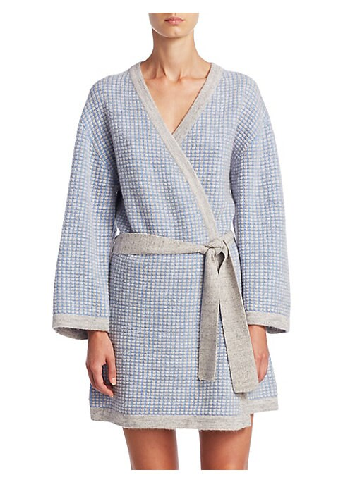 """Image of Cashmere robe with contrast trim. Open front. Long sleeves. Self-tie waist. About 35"""" from shoulder to hem. Cashmere. Dry clean. Imported."""