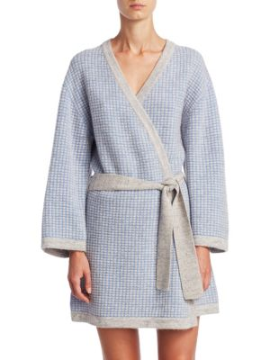 """Image of Cashmere robe with contrast trim. Open front. Long sleeves. Self tie bet waist. About 35"""" from shoulder to hem. Cashmere. Dry clean. Imported."""