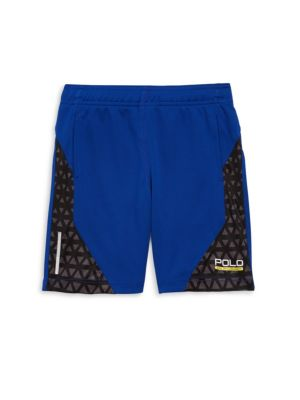 Image of .Athletic shorts with geometric-print side panels. .Elasticized waistband. .Side welt pockets. .Moisture-wicking ThermoVent technology. .Polyester. .Machine wash. .Imported. .