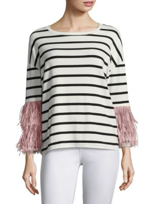 Ostrich Feather Sleeve Stripe Cotton Top by Pello Bello