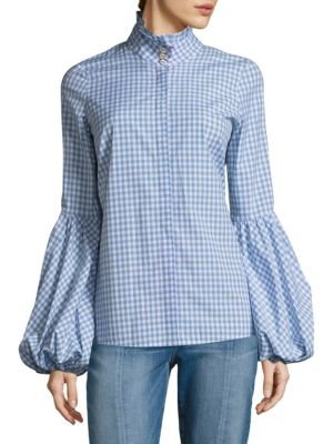 Jacqueline Balloon-Sleeve Gingham Blouse by Caroline Constas