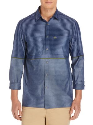 Image of Stripe Cotton Casual Button-Down Shirt