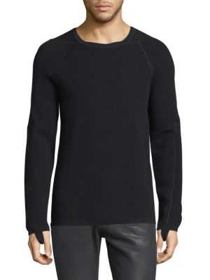 Image of Wool-blend knitted top featuring thumbhole detail. Crewneck. Long raglan sleeves. Rib-knit at neck, cuffs and hem. Merino wool/cotton. Dry clean. Imported.