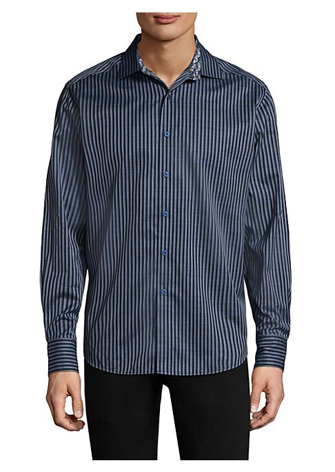 Image of Cotton button-down shirt with striped design. Spread collar. Long sleeves. Buttoned barrel cuffs. Button front. Curved hem. Regular-fit. Cotton. Machine wash. Imported.