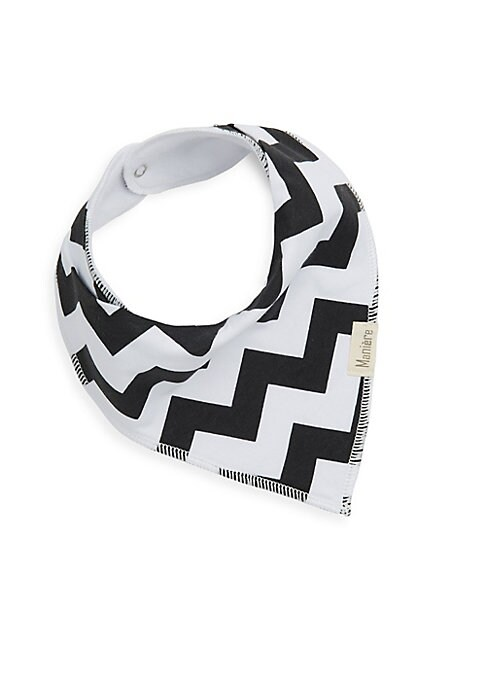 Image of .Cotton bandana style bib with patterned graphic. .Snap closure. .Cotton. .Dry clean. .Imported. .